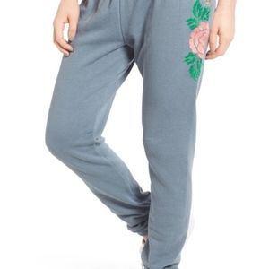 NWT Wildfox Sommers Sweatpants - Rose embroidered